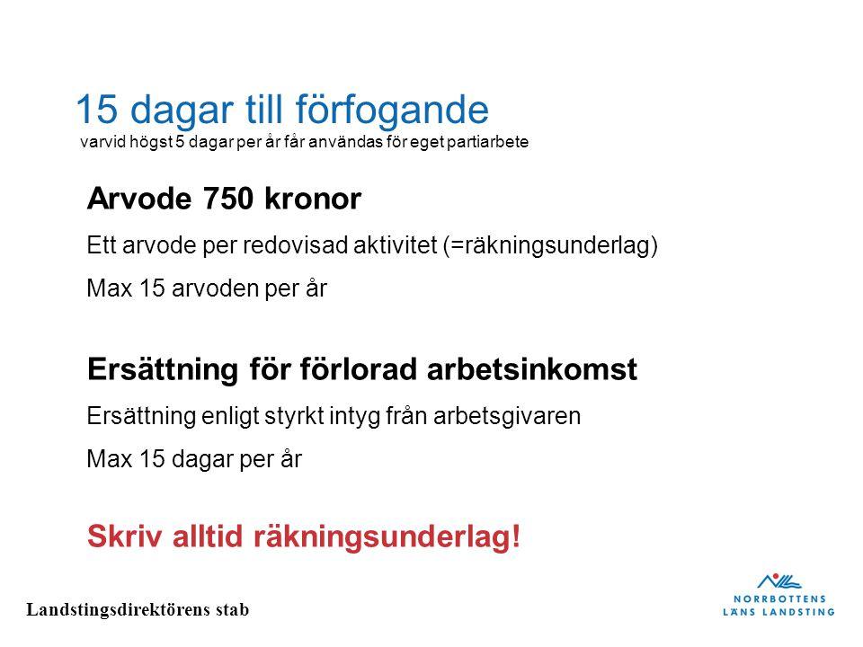 Landstingsdirektörens stab 15 dagar till förfogande Arvode 750 kronor Ett arvode per redovisad aktivitet (=räkningsunderlag) Max 15 arvoden per år Ers