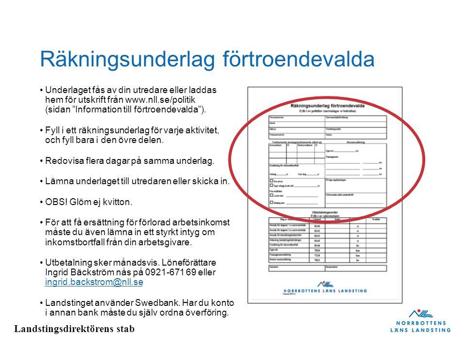 Landstingsdirektörens stab Räkningsunderlag förtroendevalda Underlaget fås av din utredare eller laddas hem för utskrift från www.nll.se/politik (sida