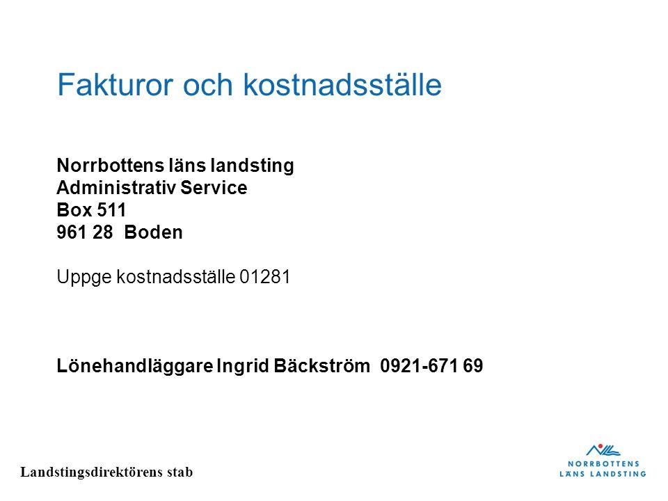 Landstingsdirektörens stab Fakturor och kostnadsställe Norrbottens läns landsting Administrativ Service Box 511 961 28 Boden Uppge kostnadsställe 0128