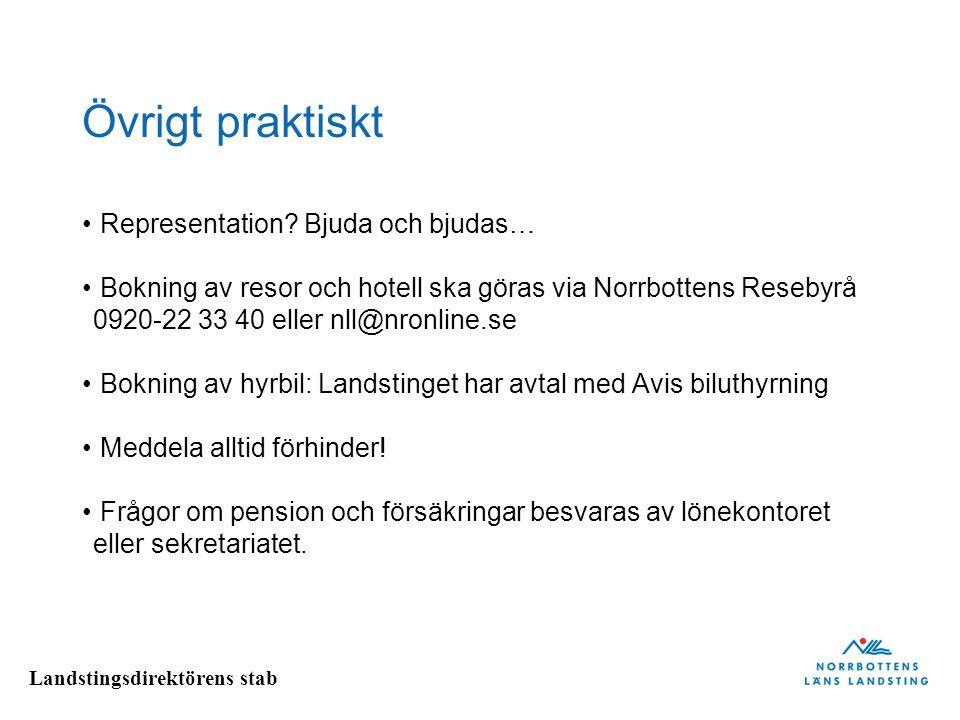 Landstingsdirektörens stab Övrigt praktiskt Representation? Bjuda och bjudas… Bokning av resor och hotell ska göras via Norrbottens Resebyrå 0920-22 3