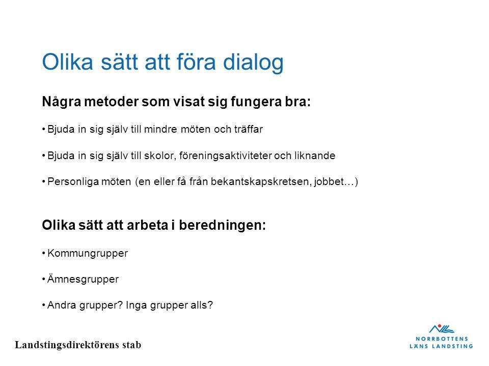 Landstingsdirektörens stab Olika sätt att föra dialog Några metoder som visat sig fungera bra: Bjuda in sig själv till mindre möten och träffar Bjuda