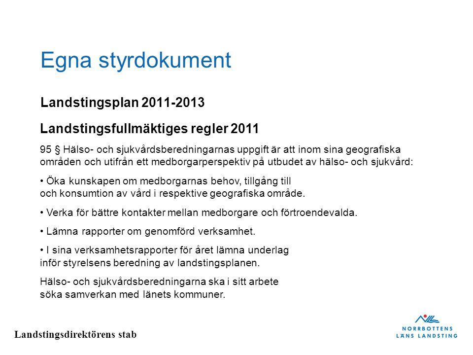 Landstingsdirektörens stab Egna styrdokument Landstingsfullmäktiges regler 2011 95 § Hälso- och sjukvårdsberedningarnas uppgift är att inom sina geogr