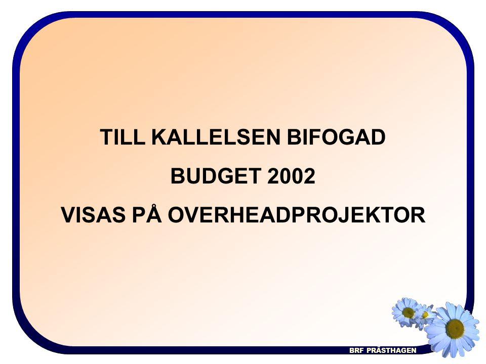 BRF PRÄSTHAGEN TILL KALLELSEN BIFOGAD BUDGET 2002 VISAS PÅ OVERHEADPROJEKTOR