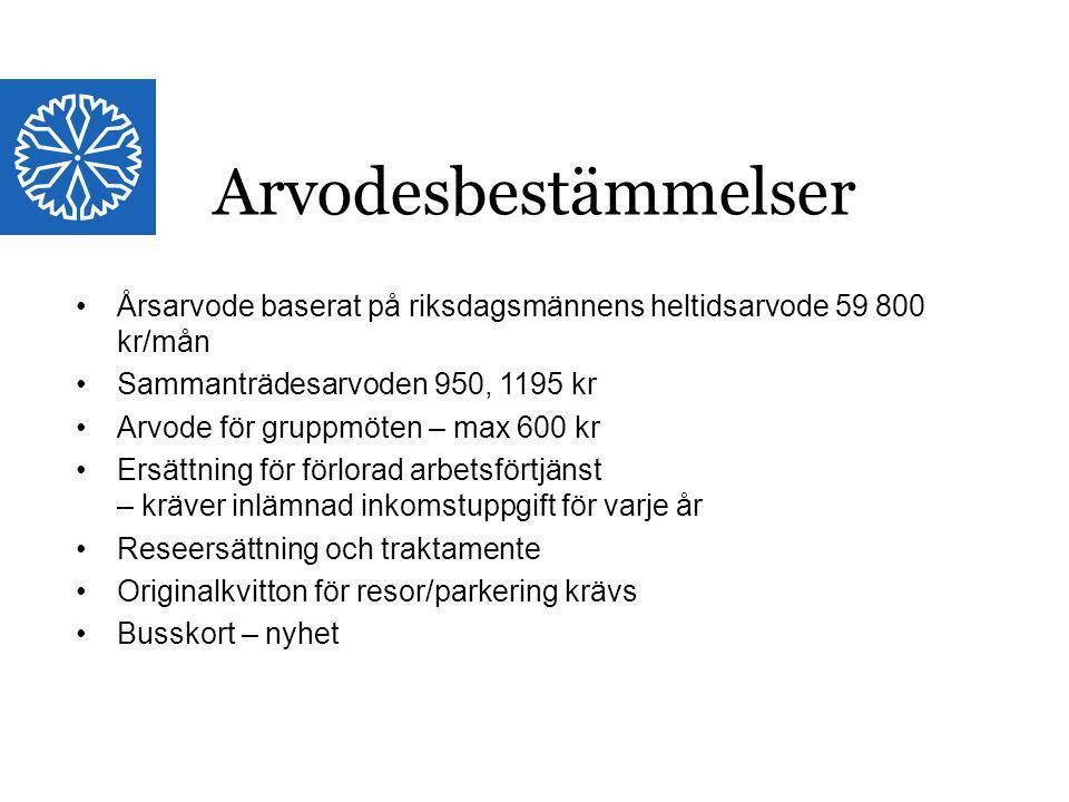 Landstinget i Östergötland Årsarvode baserat på riksdagsmännens heltidsarvode 59 800 kr/mån Sammanträdesarvoden 950, 1195 kr Arvode för gruppmöten – m