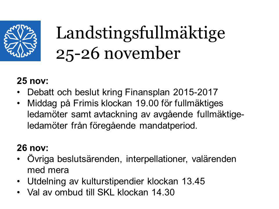 Landstinget i Östergötland Landstingsfullmäktige 25-26 november 25 nov: Debatt och beslut kring Finansplan 2015-2017 Middag på Frimis klockan 19.00 fö
