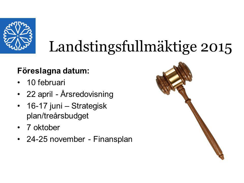 Landstinget i Östergötland Föreslagna datum: 10 februari 22 april - Årsredovisning 16-17 juni – Strategisk plan/treårsbudget 7 oktober 24-25 november