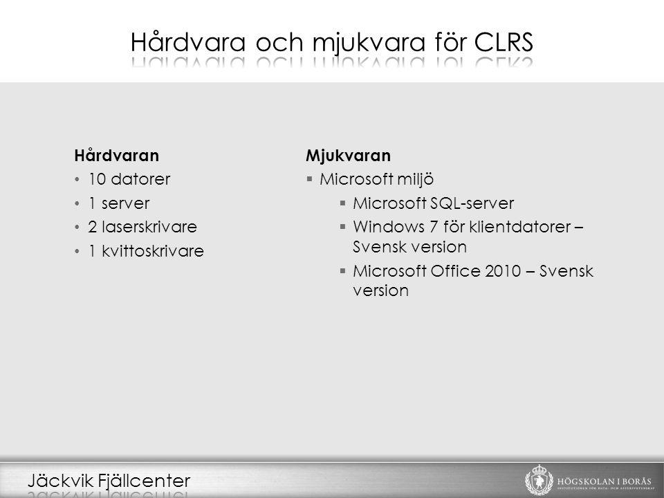 Hårdvaran 10 datorer 1 server 2 laserskrivare 1 kvittoskrivare Mjukvaran  Microsoft miljö  Microsoft SQL-server  Windows 7 för klientdatorer – Svensk version  Microsoft Office 2010 – Svensk version