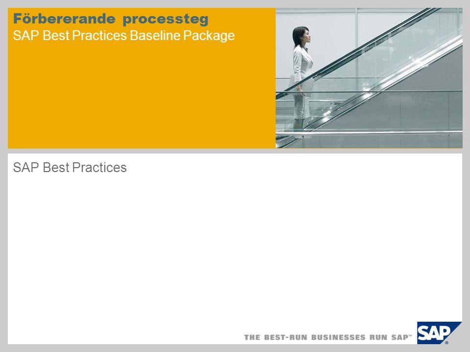 Scenarioöversikt – 1 Syfte Den här Dokumentationen för verksamhetsflöde innehåller processteg som måste utföras innan du kan börja arbeta igenom standard dokumentationen för verksamhetsflöde för valda logistikscenarier.