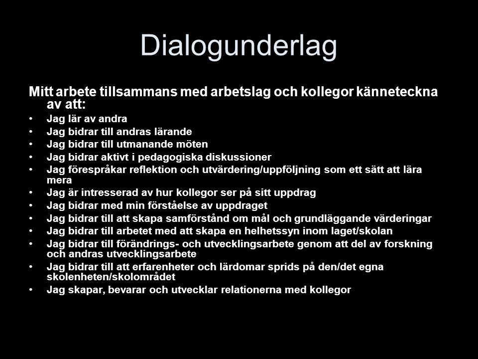 Dialogunderlag Mitt arbete tillsammans med arbetslag och kollegor känneteckna av att: Jag lär av andra Jag bidrar till andras lärande Jag bidrar till