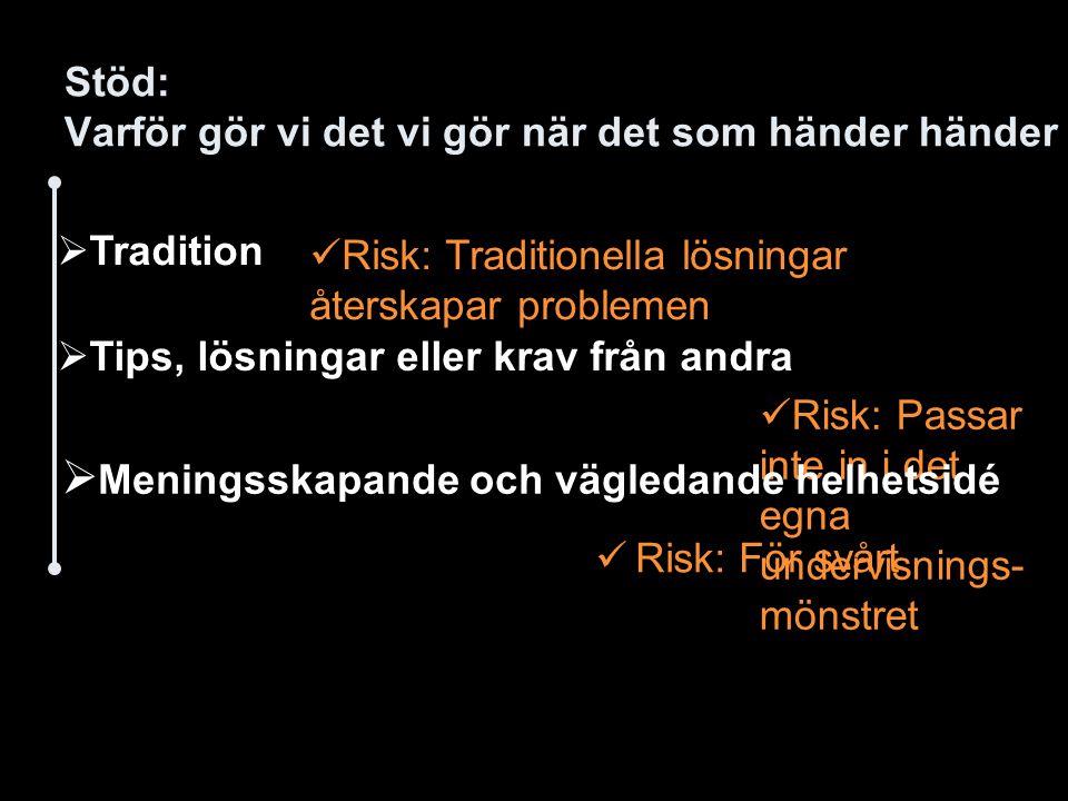 Stöd: Varför gör vi det vi gör när det som händer händer Risk: För svårt  Tradition Risk: Traditionella lösningar återskapar problemen  Tips, lösnin