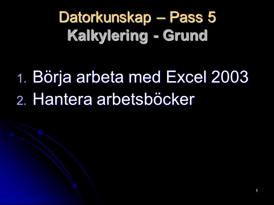 1 Datorkunskap – Pass 5 Kalkylering - Grund 1. Börja arbeta med Excel 2003 2. Hantera arbetsböcker