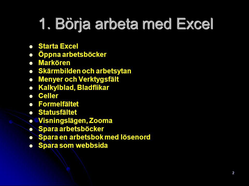 2 Starta Excel Öppna arbetsböcker Markören Skärmbilden och arbetsytan Menyer och Verktygsfält Kalkylblad, Bladflikar Celler Formelfältet Statusfältet