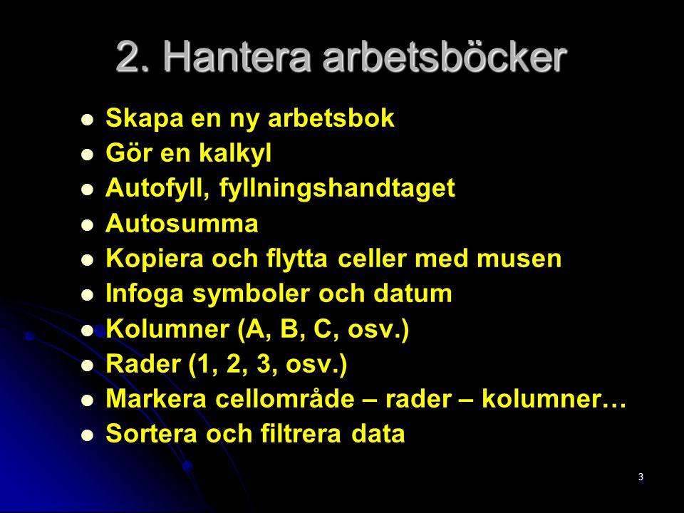 3 Skapa en ny arbetsbok Gör en kalkyl Autofyll, fyllningshandtaget Autosumma Kopiera och flytta celler med musen Infoga symboler och datum Kolumner (A, B, C, osv.) Rader (1, 2, 3, osv.) Markera cellområde – rader – kolumner… Sortera och filtrera data 2.