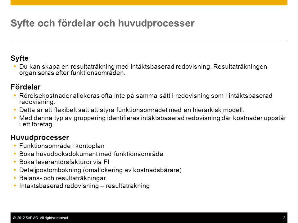 ©2012 SAP AG. All rights reserved.2 Syfte och fördelar och huvudprocesser Syfte  Du kan skapa en resultaträkning med intäktsbaserad redovisning. Resu