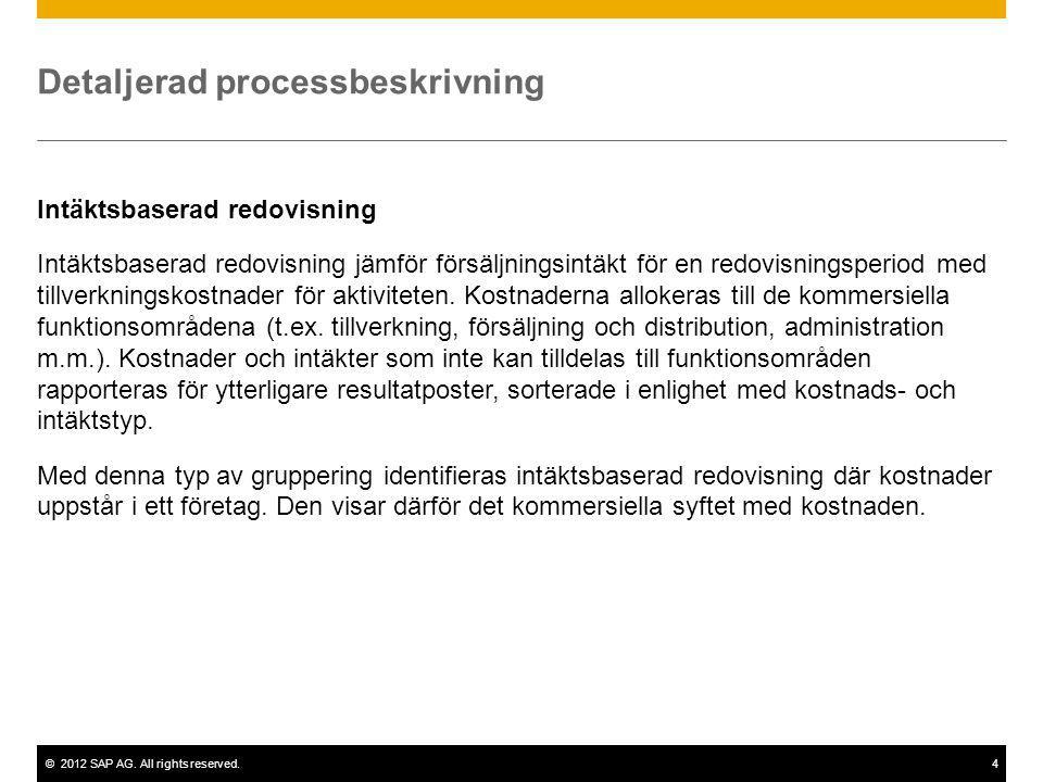©2012 SAP AG. All rights reserved.4 Detaljerad processbeskrivning Intäktsbaserad redovisning Intäktsbaserad redovisning jämför försäljningsintäkt för