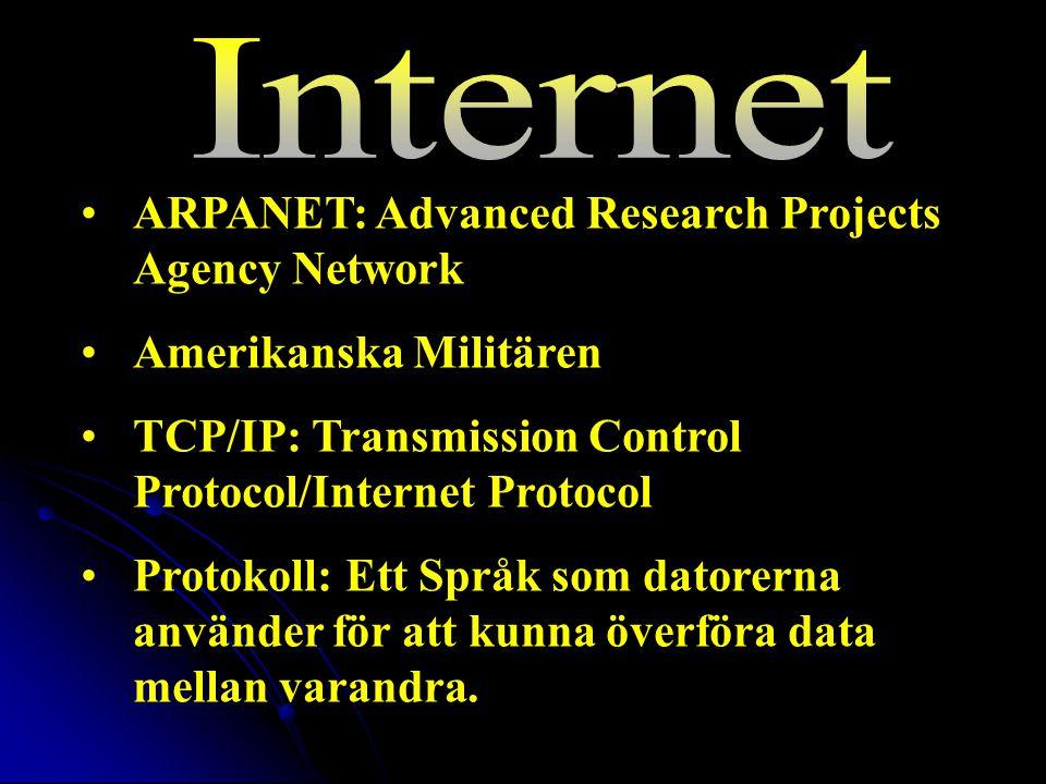 ARPANET: Advanced Research Projects Agency Network Amerikanska Militären TCP/IP: Transmission Control Protocol/Internet Protocol Protokoll: Ett Språk som datorerna använder för att kunna överföra data mellan varandra.