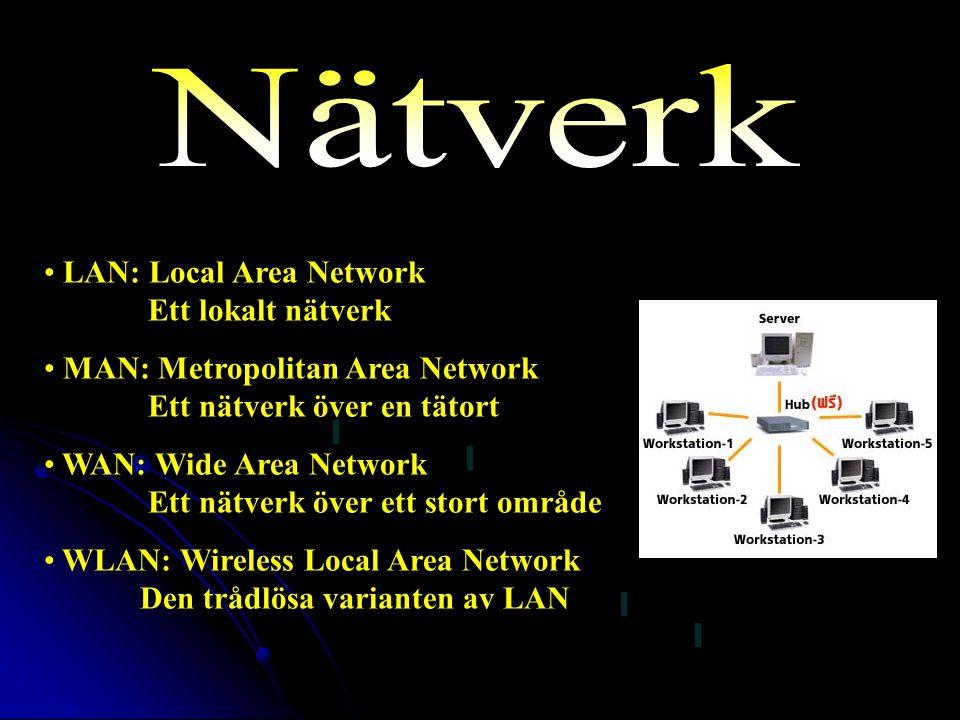 LAN: Local Area Network Ett lokalt nätverk MAN: Metropolitan Area Network Ett nätverk över en tätort WAN: Wide Area Network Ett nätverk över ett stort område WLAN: Wireless Local Area Network Den trådlösa varianten av LAN