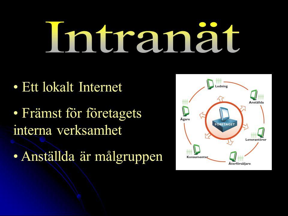 Ett lokalt Internet Främst för företagets interna verksamhet Anställda är målgruppen