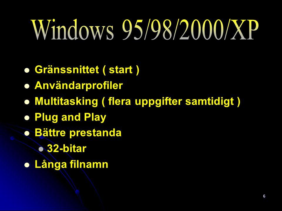 6 Gränssnittet ( start ) Användarprofiler Multitasking ( flera uppgifter samtidigt ) Plug and Play Bättre prestanda 32-bitar Långa filnamn