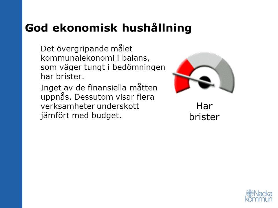 God ekonomisk hushållning Det övergripande målet kommunalekonomi i balans, som väger tungt i bedömningen har brister.