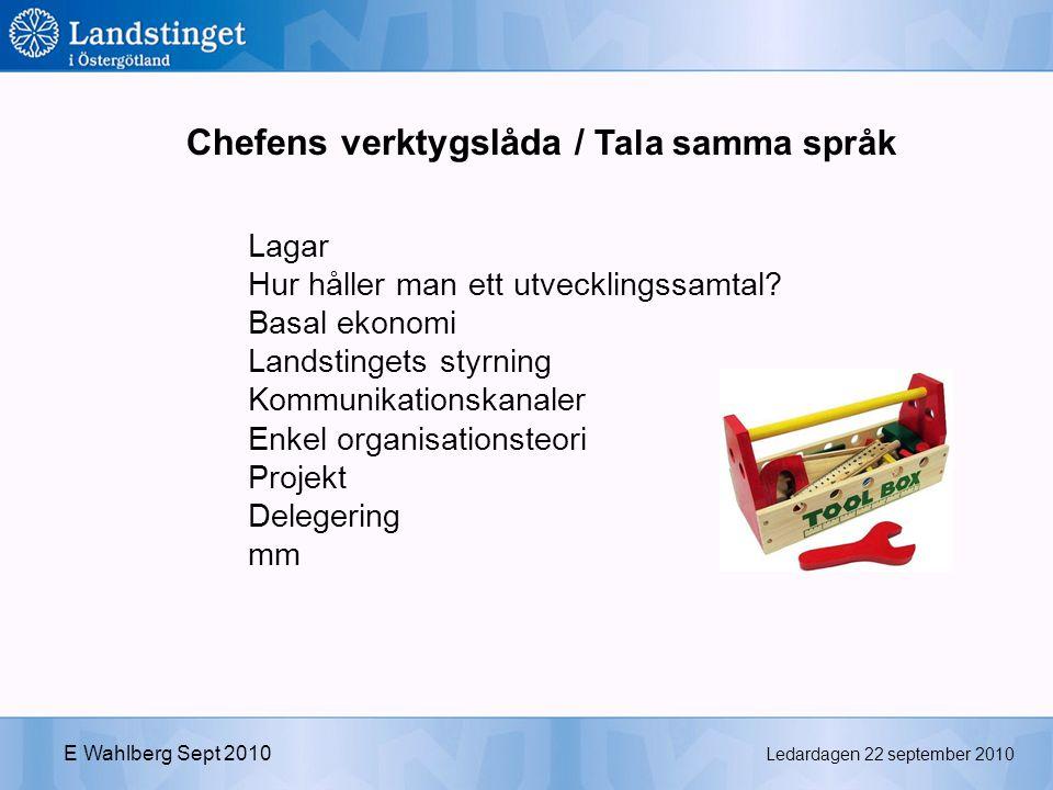 Ledardagen 22 september 2010 E Wahlberg Sept 2010 Chefens verktygslåda / Tala samma språk Lagar Hur håller man ett utvecklingssamtal.