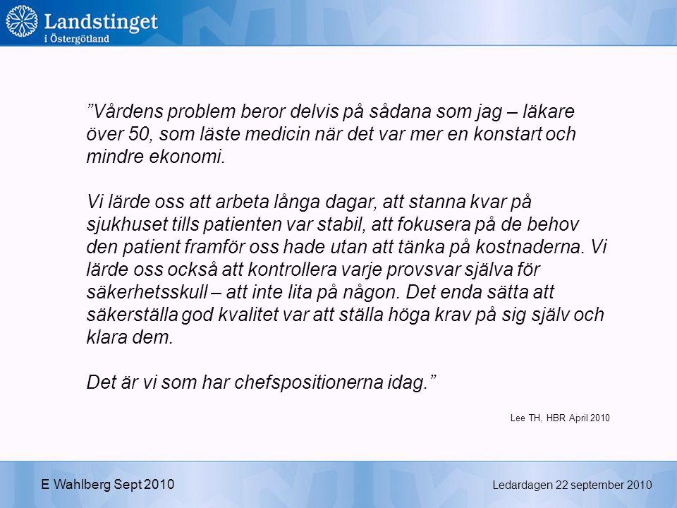 Ledardagen 22 september 2010 E Wahlberg Sept 2010 Vårdens problem beror delvis på sådana som jag – läkare över 50, som läste medicin när det var mer en konstart och mindre ekonomi.