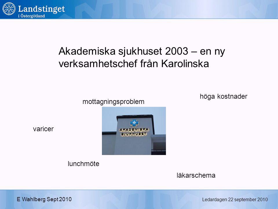 Ledardagen 22 september 2010 E Wahlberg Sept 2010 Akademiska sjukhuset 2003 – en ny verksamhetschef från Karolinska varicer höga kostnader läkarschema lunchmöte mottagningsproblem