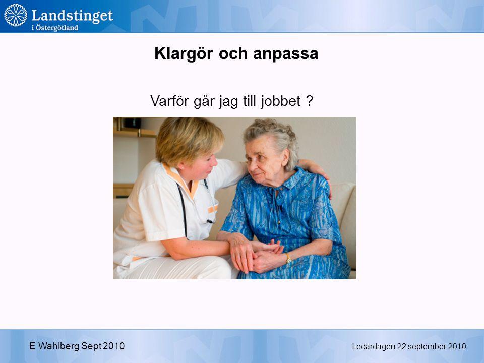 Ledardagen 22 september 2010 E Wahlberg Sept 2010 Varför går jag till jobbet Klargör och anpassa