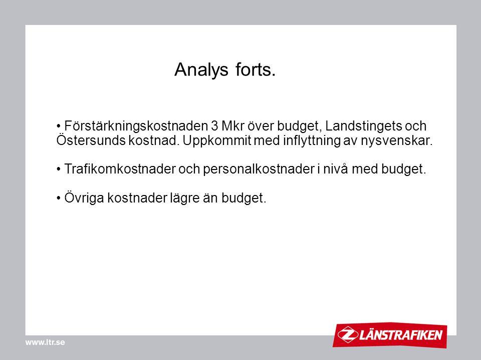 Förstärkningskostnaden 3 Mkr över budget, Landstingets och Östersunds kostnad. Uppkommit med inflyttning av nysvenskar. Trafikomkostnader och personal