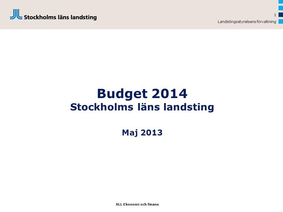 Landstingsstyrelsens förvaltning 1 Budget 2014 Stockholms läns landsting Maj 2013 SLL Ekonomi och finans