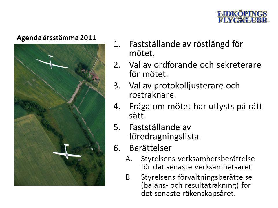 Agenda årsstämma 2011 1.Fastställande av röstlängd för mötet.
