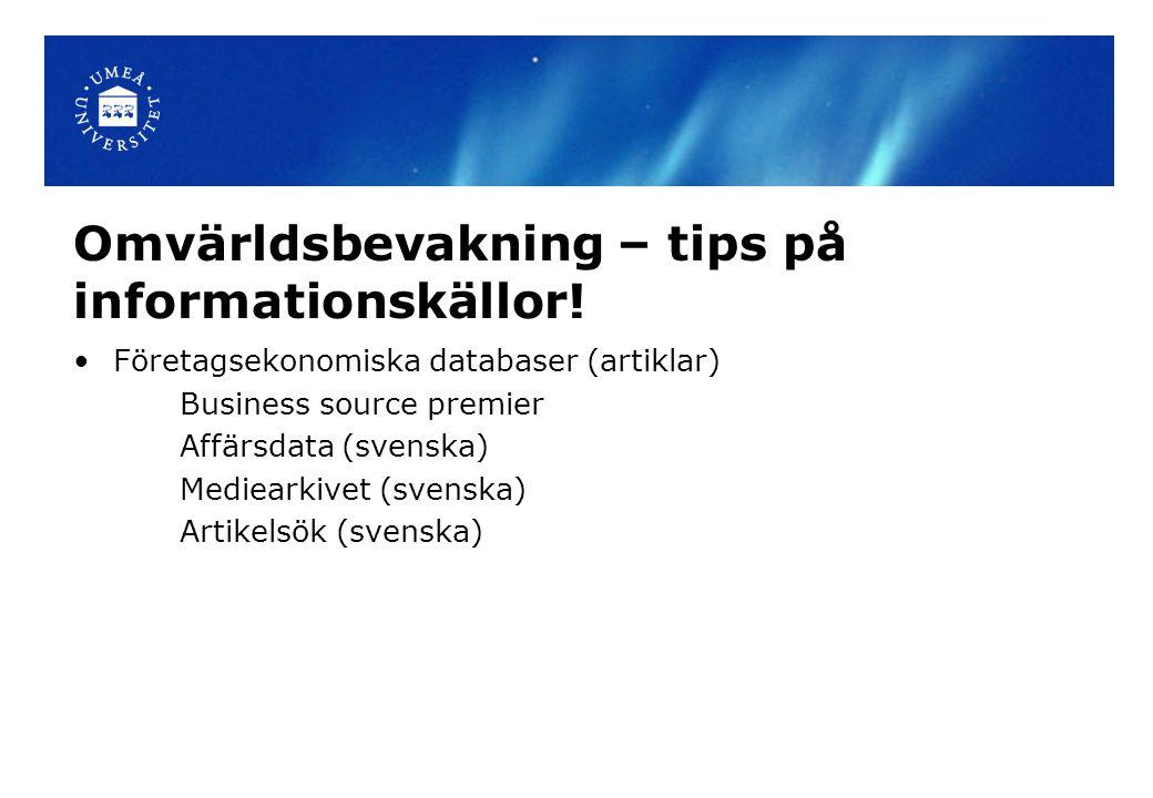 Omvärldsbevakning – tips på informationskällor.