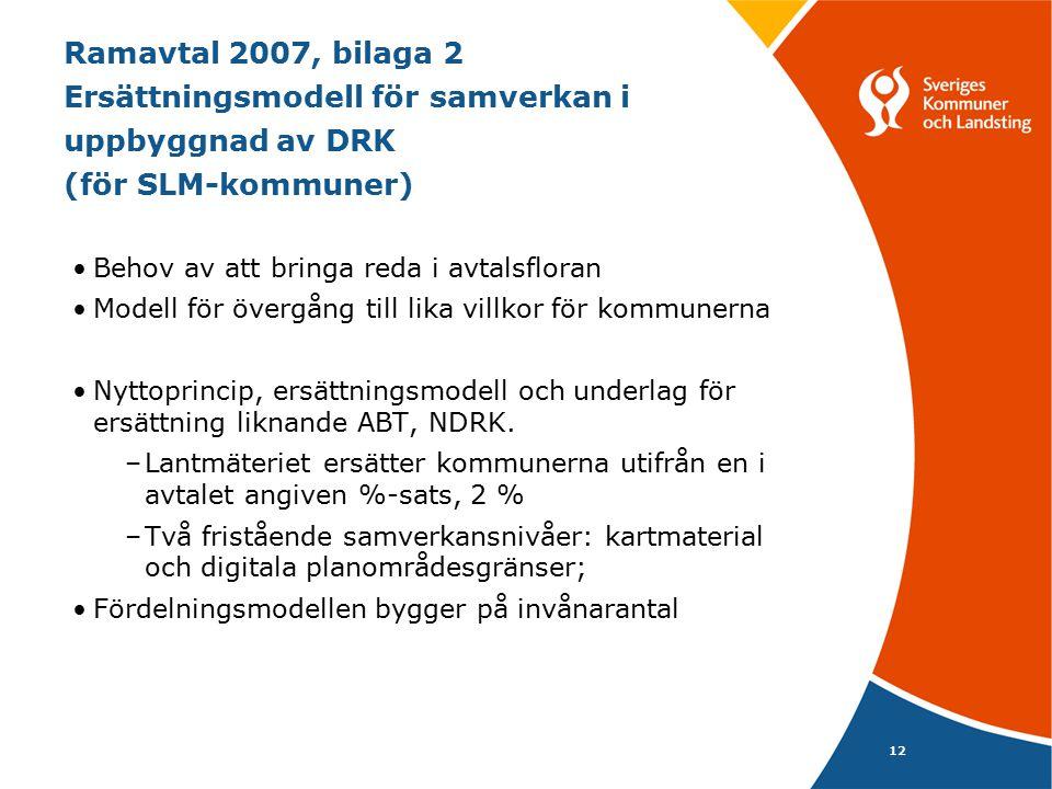 12 Ramavtal 2007, bilaga 2 Ersättningsmodell för samverkan i uppbyggnad av DRK (för SLM-kommuner) Behov av att bringa reda i avtalsfloran Modell för ö