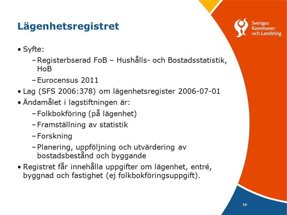 16 Lägenhetsregistret Syfte: –Registerbserad FoB – Hushålls- och Bostadsstatistik, HoB –Eurocensus 2011 Lag (SFS 2006:378) om lägenhetsregister 2006-07-01 Ändamålet i lagstiftningen är: –Folkbokföring (på lägenhet) –Framställning av statistik –Forskning –Planering, uppföljning och utvärdering av bostadsbestånd och byggande Registret får innehålla uppgifter om lägenhet, entré, byggnad och fastighet (ej folkbokföringsuppgift).