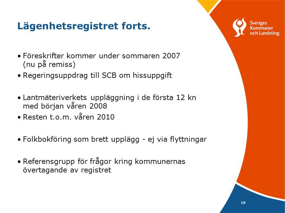 18 Lägenhetsregistret forts. Föreskrifter kommer under sommaren 2007 (nu på remiss) Regeringsuppdrag till SCB om hissuppgift Lantmäteriverkets upplägg