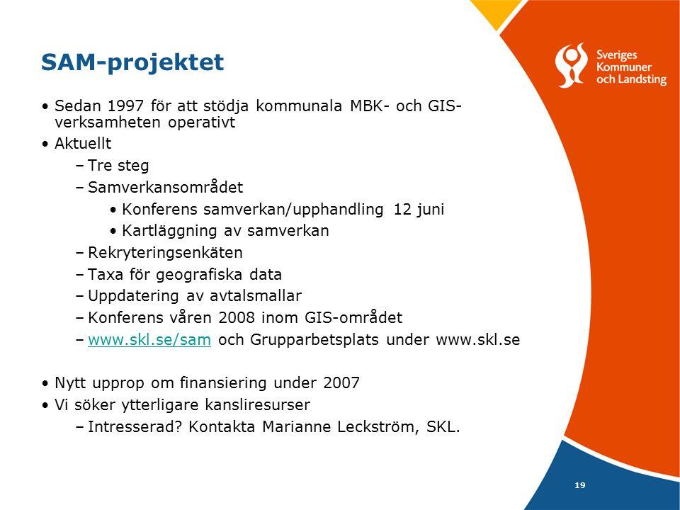 19 SAM-projektet Sedan 1997 för att stödja kommunala MBK- och GIS- verksamheten operativt Aktuellt –Tre steg –Samverkansområdet Konferens samverkan/upphandling 12 juni Kartläggning av samverkan –Rekryteringsenkäten –Taxa för geografiska data –Uppdatering av avtalsmallar –Konferens våren 2008 inom GIS-området –www.skl.se/sam och Grupparbetsplats under www.skl.sewww.skl.se/sam Nytt upprop om finansiering under 2007 Vi söker ytterligare kansliresurser –Intresserad.