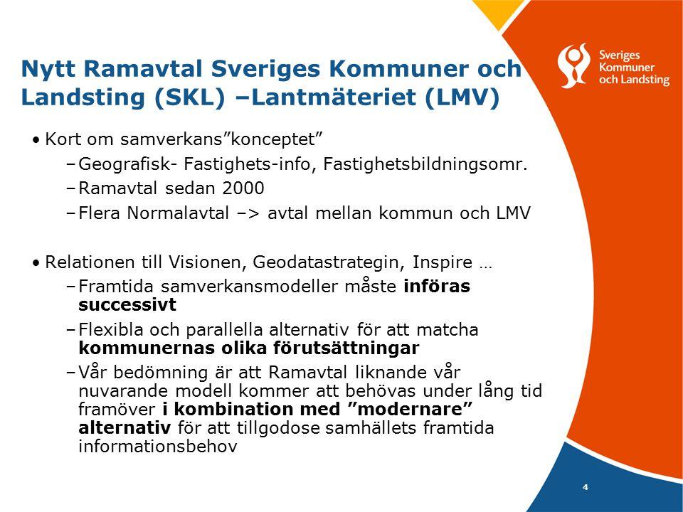 """4 Nytt Ramavtal Sveriges Kommuner och Landsting (SKL) –Lantmäteriet (LMV) Kort om samverkans""""konceptet"""" –Geografisk- Fastighets-info, Fastighetsbildni"""
