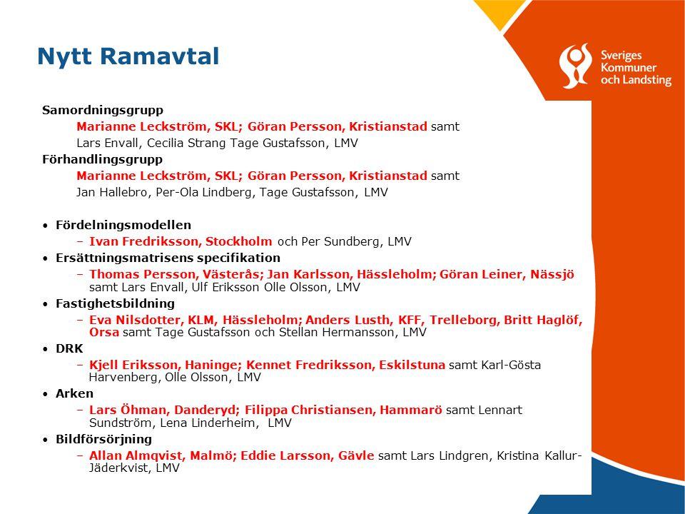 5 Nytt Ramavtal Samordningsgrupp Marianne Leckström, SKL; Göran Persson, Kristianstad samt Lars Envall, Cecilia Strang Tage Gustafsson, LMV Förhandlin