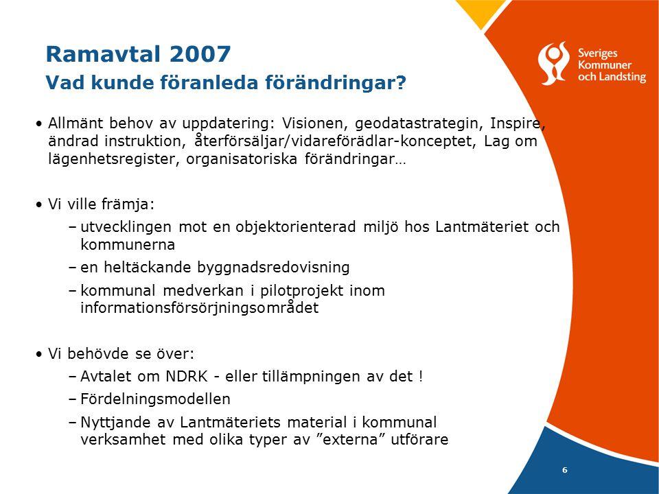 6 Ramavtal 2007 Vad kunde föranleda förändringar? Allmänt behov av uppdatering: Visionen, geodatastrategin, Inspire, ändrad instruktion, återförsäljar