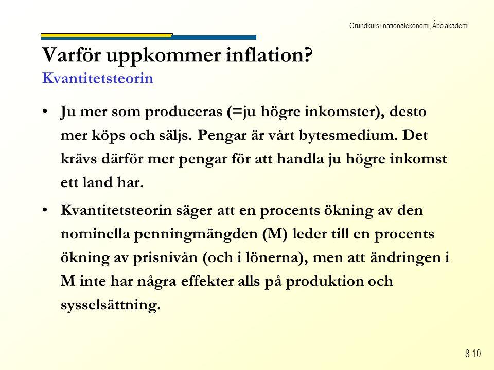 Grundkurs i nationalekonomi, Åbo akademi 8.10 Varför uppkommer inflation.