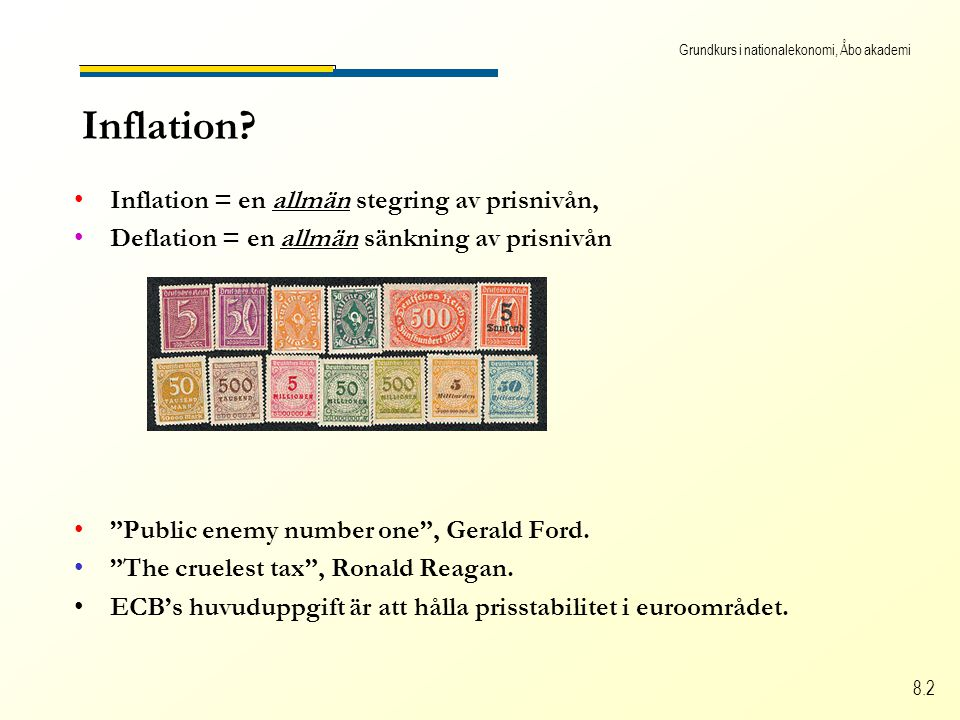 Grundkurs i nationalekonomi, Åbo akademi 8.2 Inflation.