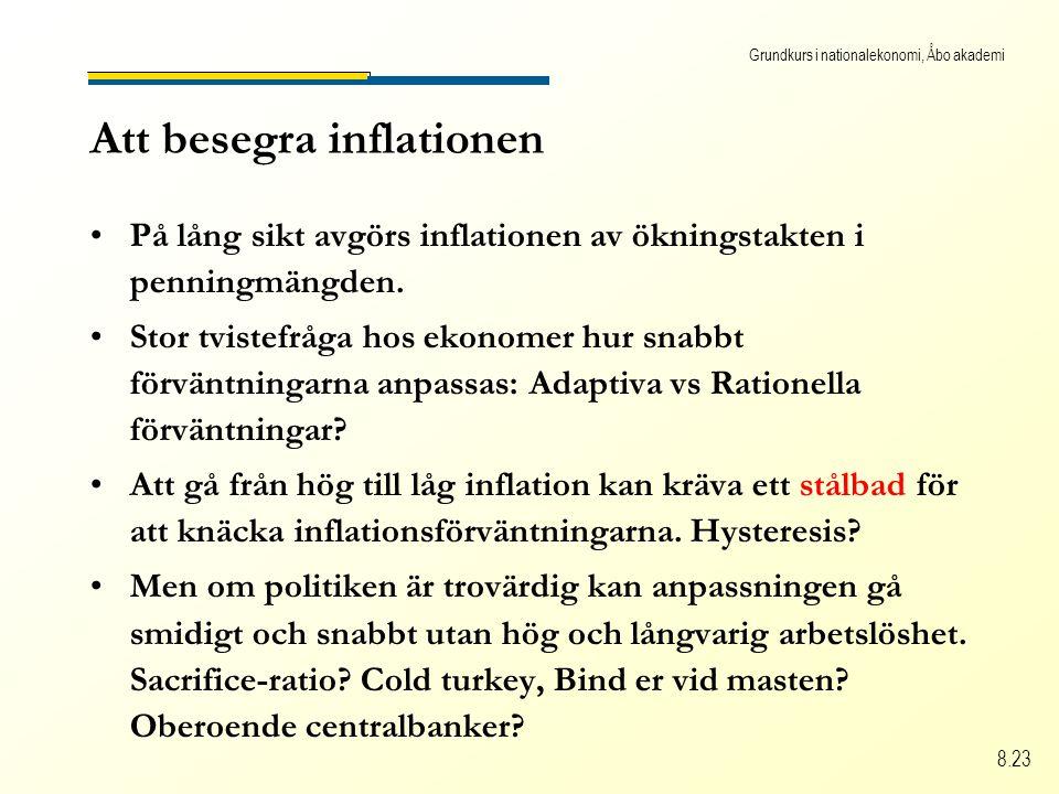 Grundkurs i nationalekonomi, Åbo akademi 8.23 Att besegra inflationen På lång sikt avgörs inflationen av ökningstakten i penningmängden.