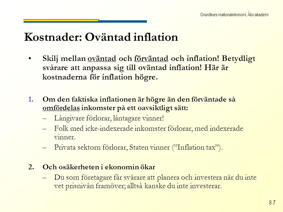 Grundkurs i nationalekonomi, Åbo akademi 8.7 Kostnader: Oväntad inflation Skilj mellan oväntad och förväntad och inflation.