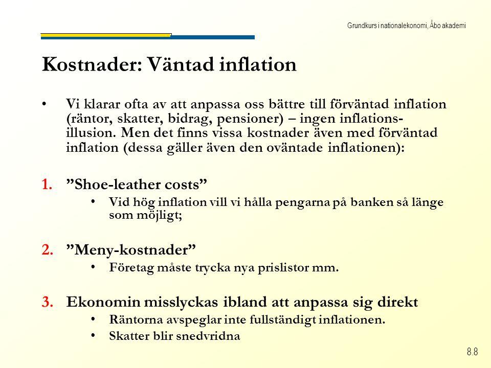 Grundkurs i nationalekonomi, Åbo akademi 8.8 Kostnader: Väntad inflation Vi klarar ofta av att anpassa oss bättre till förväntad inflation (räntor, skatter, bidrag, pensioner) – ingen inflations- illusion.