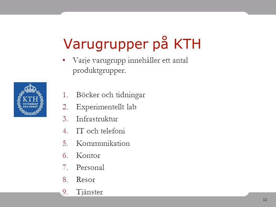 12 Varje varugrupp innehåller ett antal produktgrupper. 1.Böcker och tidningar 2.Experimentellt lab 3.Infrastruktur 4.IT och telefoni 5.Kommunikation