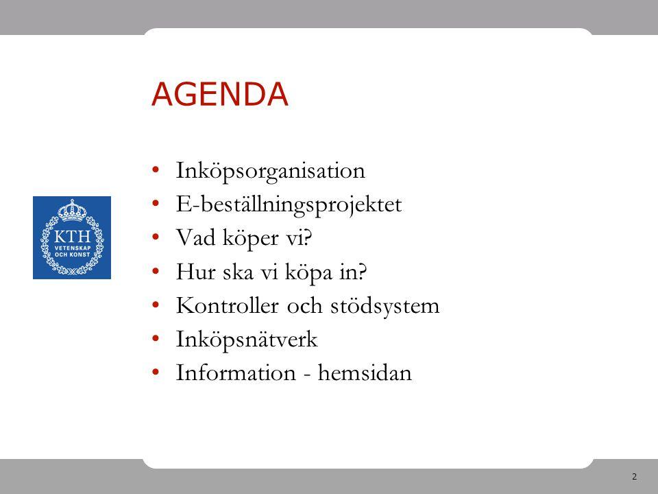2 AGENDA Inköpsorganisation E-beställningsprojektet Vad köper vi? Hur ska vi köpa in? Kontroller och stödsystem Inköpsnätverk Information - hemsidan