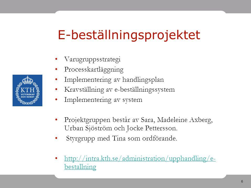 6 E-beställningsprojektet Varugruppsstrategi Processkartläggning Implementering av handlingsplan Kravställning av e-beställningssystem Implementering