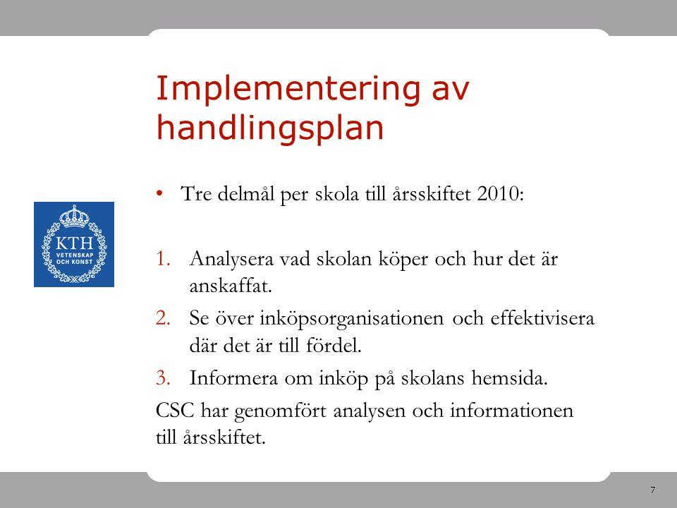 7 Implementering av handlingsplan Tre delmål per skola till årsskiftet 2010: 1.Analysera vad skolan köper och hur det är anskaffat. 2.Se över inköpsor