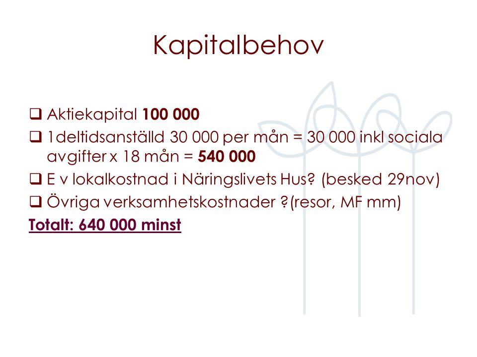 Kapitalbehov  Aktiekapital 100 000  1deltidsanställd 30 000 per mån = 30 000 inkl sociala avgifter x 18 mån = 540 000  E v lokalkostnad i Näringslivets Hus.