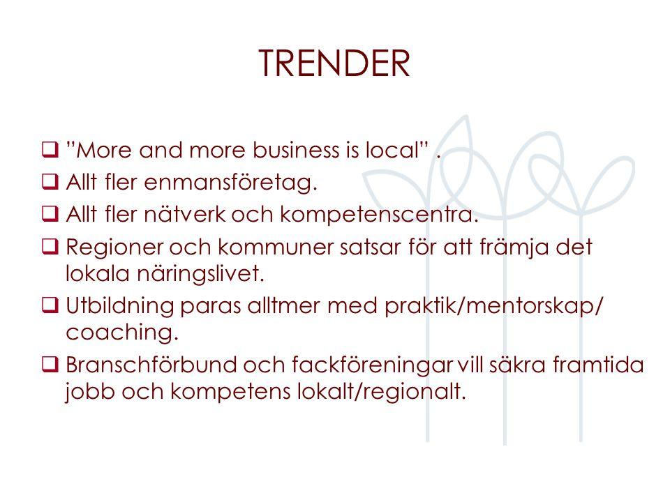 """TRENDER  """"More and more business is local"""".  Allt fler enmansföretag.  Allt fler nätverk och kompetenscentra.  Regioner och kommuner satsar för at"""